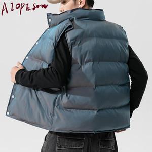 AIOPESON 2020 New Reflective Men's Vests Casual Solid Color Single Breasted Coat Men Winter Fashion Loose Mens Vest