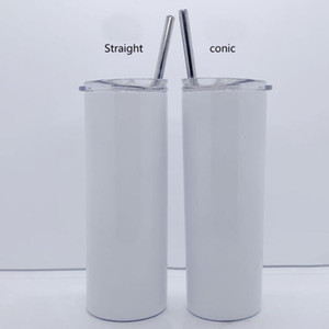 20oz glitter white sublimation straight skinny tumbler stainless steel vacuum slim cup with lid straw coffee mug
