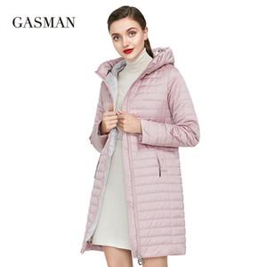 Gasman Kapşonlu fermuar ince kış ceket kadınlar cep moda parka bahar ceket ceket Kadın pamuklu uzun katı aşağı ceket 201.023