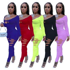 Printemps et automne 2021 Femmes Couleur solide Couleur Fleur Bruit Fleur Sexy Suit Fashion Mode Sexy Col U-Cou Long Pantalons Ensembles de deux pièces