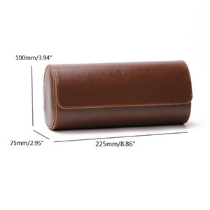 3 Slots Watch Roll Travel Case Chic Portable Vintage Leather Display Watch Storage Box with Slid in Out Organizers