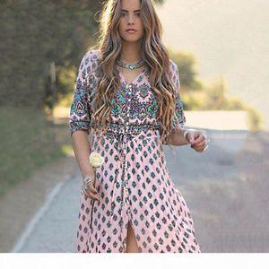 إمرأة بوهو طويل اللباس شاطئ نمط عطلة زائد الحجم فساتين الخامس الرقبة فستان ماكسي الطباعة اللباس سبليت vestidos