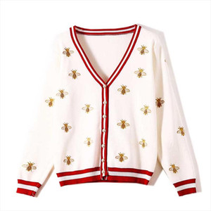 NiceMix Womens sweater embroidery Autumn new womens long sleeved industry bee contrast color stripes loose knit cardigan thin