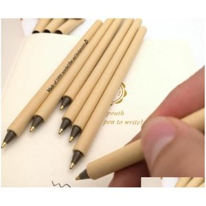 can printing logo high-end gel pen fashions simple green e-friendly kraft paper shell pens office school student supply creative gift 9Vcuc
