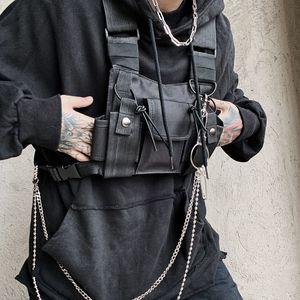 Functional Tactical Chest Rig Bag For Unisex Fashion Bullet Hip Hop Vest Streetwear Bag Waist Pack Women Black Chest Bag YB415