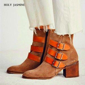 Holy Jasmine Cuero genuino Punto de punta de punta Botas de tobillo Cuadrado Tacón de invierno Botas de mujer Nubuck Zapatos para mujer Zip Alto (5CM-8CM) 1
