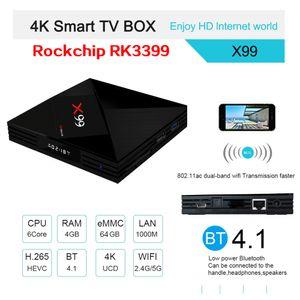 X99 Android 7.1 TV Box RK3399 Quad-Core 4GB / 64GB Incorporado 2.4G / 5GWIFIBLUETOOTH HD OUT PUTTYPE C Smart Box