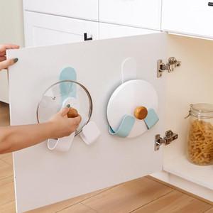 قابل للتعديل وعاء غطاء حامل ذاتية لاصقة لكمة خالية غطاء عموم تخزين الرف الحائط مطبخ الطبخ أواني أداة المنظم 1
