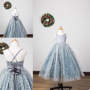 2021 Abrir Birthday Party Voltar Meninas Pageant Dresses Lace lantejoulas de uma menina linha V Neck Vestidos Custom Made
