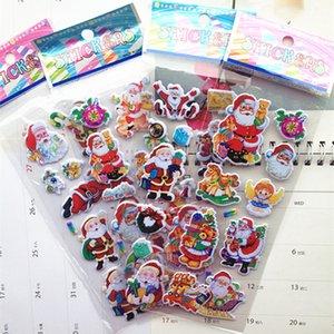 2020 Newest Christmas 3D Cartoon Sticker Santa Claus Wall Stickers Christmas Tree Snowman gift Paster Kindergarten Reward