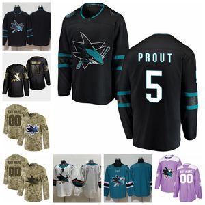 2021 anpassen # 5 Dalton Prout San Jose Sharks Jerseys Golden Edition Camo Veterans Day Fights Cancer Individuelle genähtes Hockey Jerseys