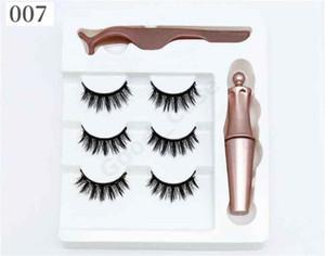 3 Pairs Magnetic Eyelashes False Lashes +Liquid Eyeliner +Tweezer Eye makeup set 3D Magnet False Eyelashes Natural Reusable F101907