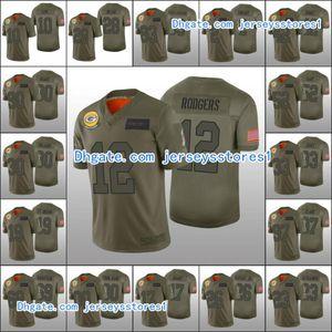 Baia VerdePackersMen # 12 Aaron Rodgers 10 Jor Dan Love 2 Mason Crosby personalizzati donne della gioventùNFL Camo Jersey 2019 Salute To Servizio
