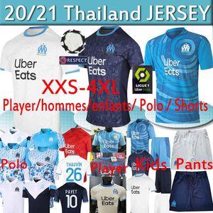 4xl Olympique Marseille Fußball Trikots OM maillot de foot PAYET THAUVIN Fans Benedetto Spieler Shirts 20 21 Männer Kid hommes enfants POLO Hosen
