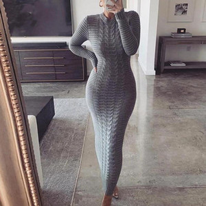 High Elastic Knitted Long Dress Women O Neck Full Sleeve Slim Maxi Pencil Dress Autumn Winter Solid Color Elegant Party Vestidos