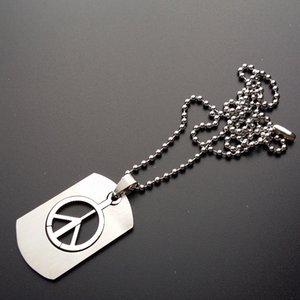 Из нержавеющей стали ожерелье Мода Мальчики Длинные цепи ожерелье антивоенная знак мира Символ Подвески Ожерелья