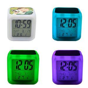 Sublimación en blanco Reloj despertador LED Dormitorio cuadrado Resplandor Electronics LED Tabla Relojes Cuadrado Dormitorio Colorido Transferencia de calor Reloj GGA3843