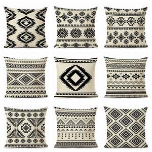 Black Boho Cojines Geometric Sofa Chaise Throw Pillow Case Cotton Linen Home Decor Nordic Funda Cojin