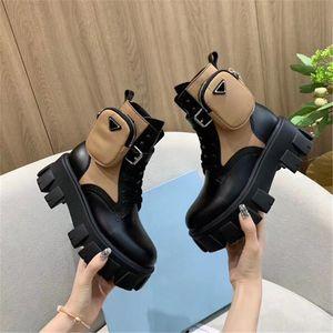 عالية الجودة الأحذية نمط الأصل جيب جلدية أحذية شتاء مارتن الكاحل الرباط حتى أحذية منصة نايلون Bouch المرفقة الاحذية العسكرية