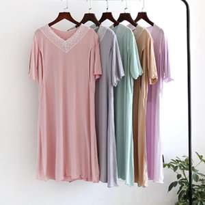 Summer Short Sleeve Maternity Night Dress Modal Postpartum Breastfeeding Lactation Lace Dress Pregnant Women Night Gown
