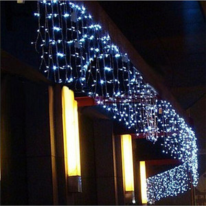 Luz de Curtain Curtain Cadeia de Corda 220 V 5m 96leds Garland de Natal Levou Faiy Xmas Party Garden Fase Outdoor Light Decorative