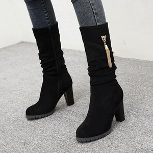 Gigifox 2020 Large Sizes 48 High Heels Elegang Office Lady Fashion mid-calf Boots Female Winter Shoes Woman