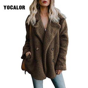 YOCALOR Kış Kadın Sahte Moda Kürk Sonbahar Oyuncak Coat Kadın Casual Uzun Kollu Ceket Kadın Vintage Dış Giyim Casaco Feminino