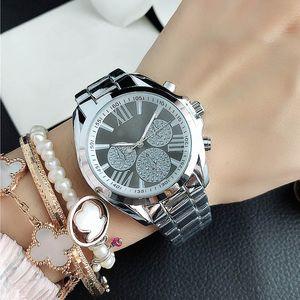 Moda marca relojes mujeres niña números romanos estilo de metal banda de acero de cuarzo reloj muñequera m 102