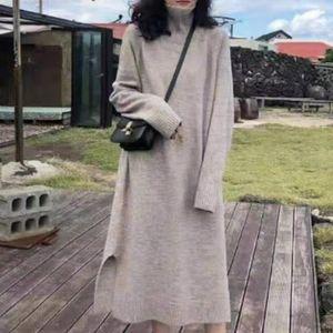 Japan Style Korean Fashion Turtleneck Dress Winter Autumn Loose Simple Thin Best Sellers Thick Warm Split Long Sleeve