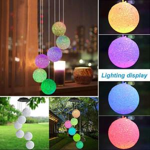 LED Solar Wind Chime Light Hanging Spiral Lamp Ball Wind Spinner Chimes Bell Lights Hummingbirds Dragonflies Outdoor Home Garden Decor