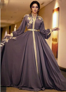 Moroccan Dubai Kaftan Lace Evening Dresses 2021 v neck Embroidery Appliques Long Formal Dress Full Sleeve Arabic Muslim Party Gowns