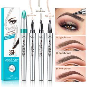 QIC Eyebrow Pencil 3D Waterproof Microblading Eyebrow Pen 4 Fork Tip 36H Eyebrow Tattoo Pencil Fine Sketch Liquid Eye Brow