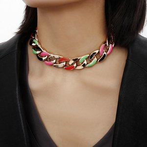 Find Me Color Paint Alloy Chain Necklace for Women Geometric Punk Thick Choker Necklace Fashion Jewelry Accessories