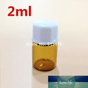 Free Shipping 100 lot 2ML Amber Glass Bottles 2CC Mini small Sample Vials Essential Oil Bottle with white Octagonal screw cap