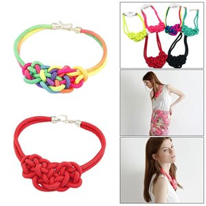 Mulheres Handmade Woven chinês Knot Cotton Rope fluorescente colar de cor Mão Knitting Multi Color Pendant chinês Knotting