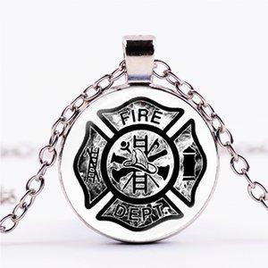 Declaração Símbolo bombeiro colar de prata banhado a Fire Fighter emblema pingente de vidro Dome Cadeia Longa Fogo-Salvamento Jóias
