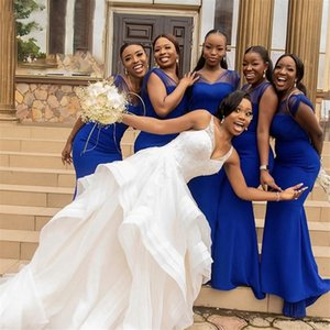 African Royal Blue Black Girls 2021 Bridesmaid Dresses Sleeveless V-neck Modest Mermaid Guest Dress Women Party Maid of Honor Prom Gowns