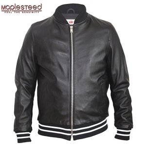 MAPLESTEED Men Leather Jacket Embroidery Soft 100% Sheepskin Casual Male Leather Clothing Boy Leather Jacket Spring Autumn M129 X1025