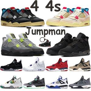 Jumpman 4 de basquete sapatos união goiaba gelo noir homens 4s sneakers gato preto 2020 criados rasta SE neon metálicas laranja roxo formadores vermelhas