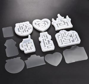 Quicksand Maze Sile Mold Shaker Molds Milk Bottle Heart Shape Uv Epoxy Resin Mold Heart Keychain Pendant C wmtLsy dayupshop