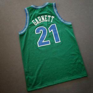 NCAA Ucuz Özel Retro # 21 JKevin Garnett Koleji Basketbol Jersey erkek Dikişli Yeşil Herhangi Boyutu 2XS-5XL Adı veya Number Ücretsiz Kargo