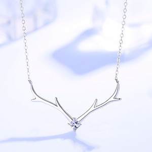 Factory Wholesale S925 Sterling Silver Elk Necklace Womens Sterling Silver Clavicle Chain Ins Cold Style Simple Pendant Jewelry
