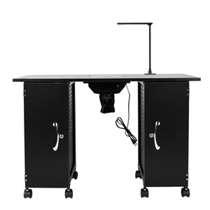 WACO Large Manicure Station Table, BNail Equipment Furniture with LED Lamp & Arm Rest, Salon Spa - Black