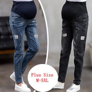 GB-Kcool pantalones vaqueros de maternidad para la mujer embarazada Embarazo pantalones elásticos de la ropa de la cintura del embarazo más el tamaño de los pantalones vaqueros negros C1002 embarazada