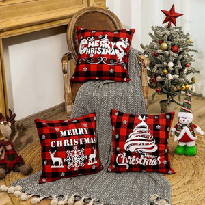 45*45cm Christmas Snowflake Pillowcase New Year Decor Santa Cushion Covers Home Sofa Pillow Case Xmas Pillow Cover Party Supplies AHA2277