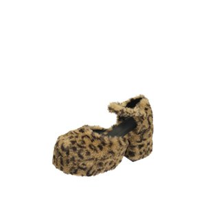 20201115 Leopard print waterproof platform thick heel flat belt hollow female high heel shoes with thick soles