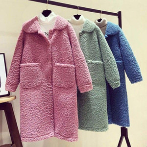 Kadın Tasarımcılar Giysi Sıcak Kış Ceket Kadınlar Uzun Ceketler Katı Turn-down Yaka Tek Göğüslü Cepler 2020 Yeni Korece Gevşek Zarif