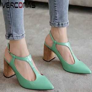 VERCONAS T-Strap Pointed Toe High Quality Thick Heels Women Lace Up Prom Pumps Sandals Summer Brand Design Shoes Woman