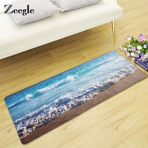 Zeegle Doormat Carpet For Living Room Floor Mat Beach Pattern Bedroom Rug Non-slip Bath Mat Entrance Decor Floor