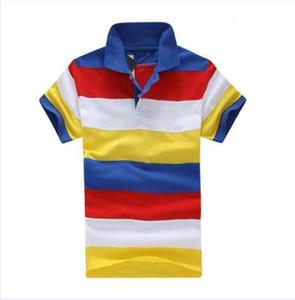 2019 Summer Men Striped Polo Shirt Short Sleeve 100% Cotton Rainbow Polos Spring Autumn Tennis T-Shirts Yellow Red Blue Size S-XXL